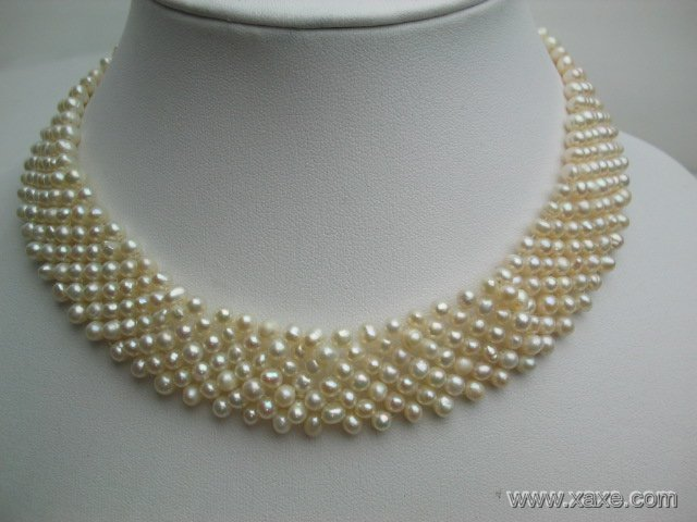 16'' 4-5mm white pearl 7 strands necklace choker