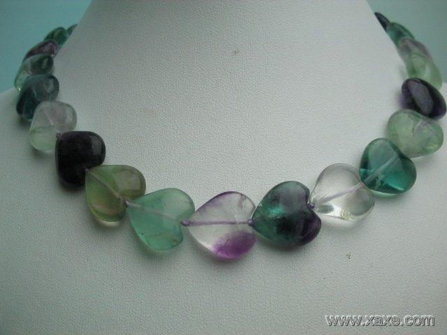 """17"""""""" 14mm heart shape fluorite necklace"""