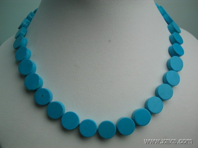 "17"""" exquisite 12mm blue button turquoise necklace"