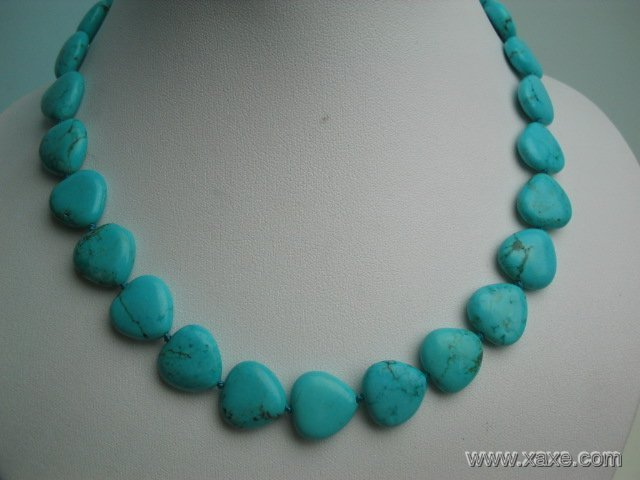 "17"""" exquisite 12mm blue heart shape turquoise necklace"