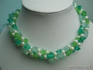 17'' twisted white pearl & green blue crystal necklace