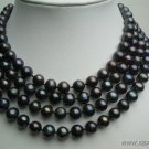 """64"""""""" long lustrous peacock 8-9mm FW pearl necklace"""