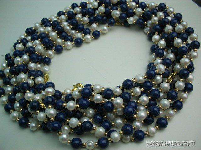 wholesale 10 pcs white pearl blue lapis necklace