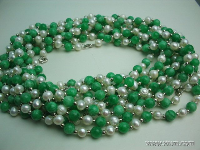 wholesale 10 pcs white pearl green jade necklace