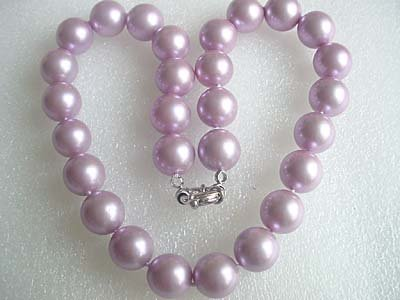 14mm purple seashell pearl strand necklace