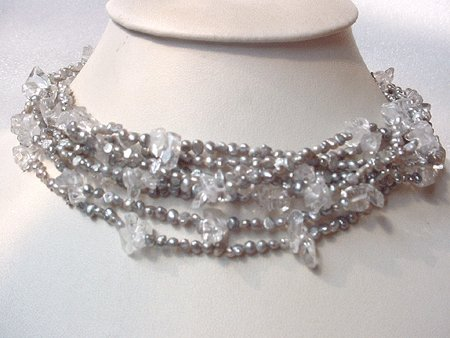 15'' 8-STR GREY FW PEARL & WHITE CRYSTAL NECKLACE S925