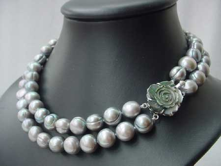16-17.5'' 11-12MM SILVER FW PEARL NECKLACE SHELL CLASP