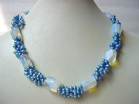 18'' BLUE FW PEARL & MOONSTONE NECKLACE