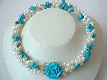 18.5'' 3-STR WHITE FW PEARL & TURQUOISE NECKLACE