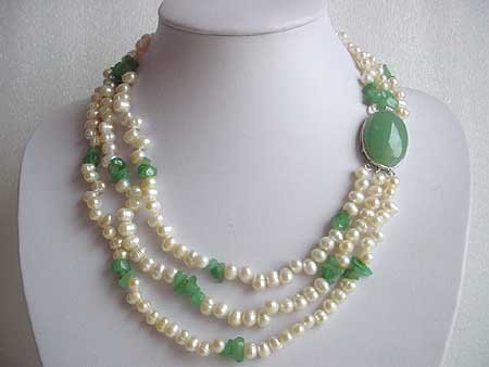 18.5-21.5'' WHITE FW PEARL NATURAL JADE NECKLACE