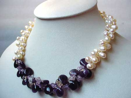 19'' 2-STR WHITE FW PEARL & AMETHYST NECKLACE
