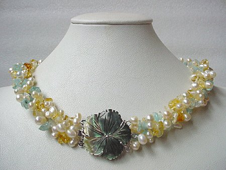 19'' 3-STR FW PEARL YELLOW JADE AQUAMARINE NECKLACE