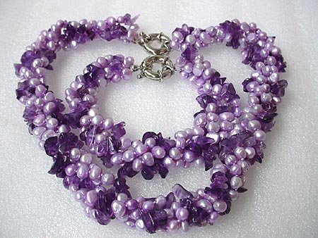 19''/ 9'' 4-STR FW PEARL AMETHYST NECKLACE BRACELET SET