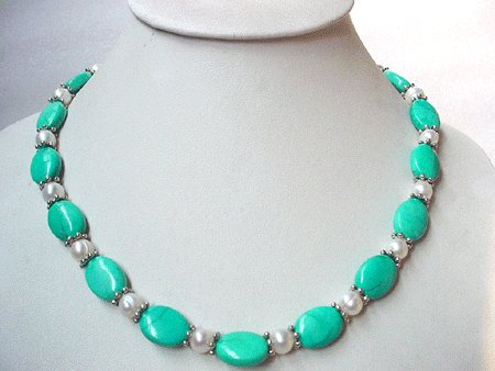 19'' white fw pearl and turquoise necklace