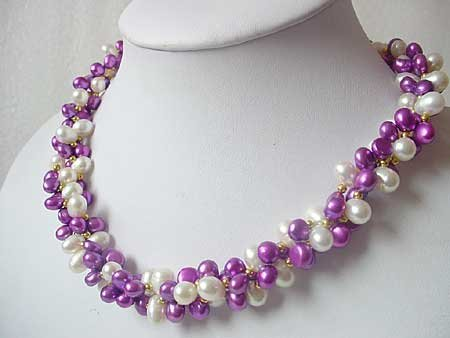 20'' 3-STR WHITE & PURPLE FW PEARL NECKLACE