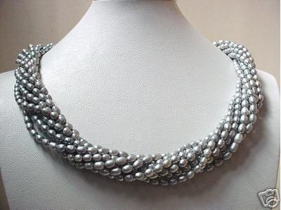 22'' 9-ROW SILVER OVAL FW PEARL NECKLACE S9251