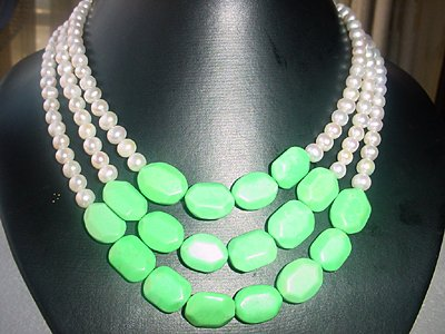 3-STR White FW pearl 5-6mm&turquoise bead necklace