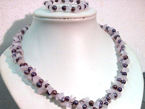 """40"""""""" Unique FW pearl & pink stone chips necklace bracelet"""