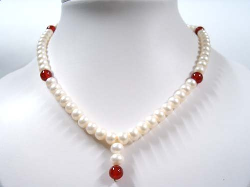 "16"""" white FW pearl and carnelian Necklace"