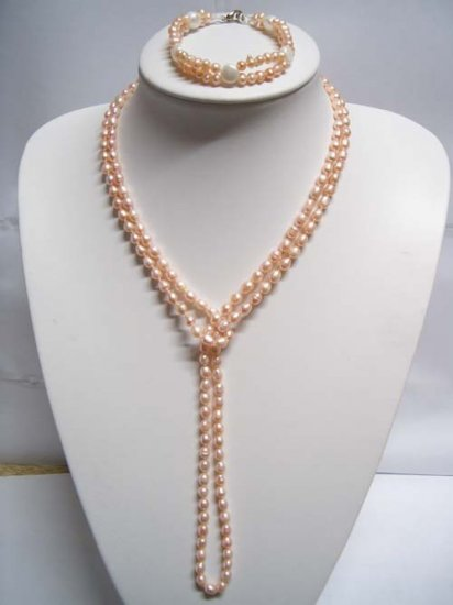 "47"""" natural FW pearl Necklace & bracelet"