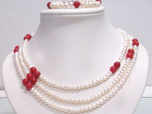 19'' Elegant white FW pearl balas Necklace bracelet