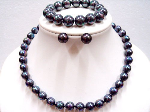 10MM BLACK SEASHELL PEARL NECKLACE BRACELET EARRING