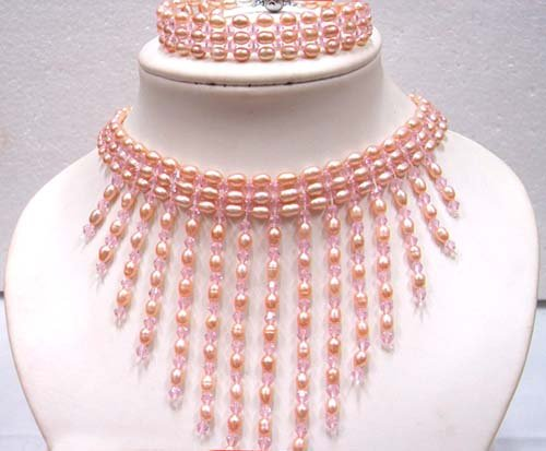 Grade AAA Genuine Choker Pink freshwater pearl Necklace