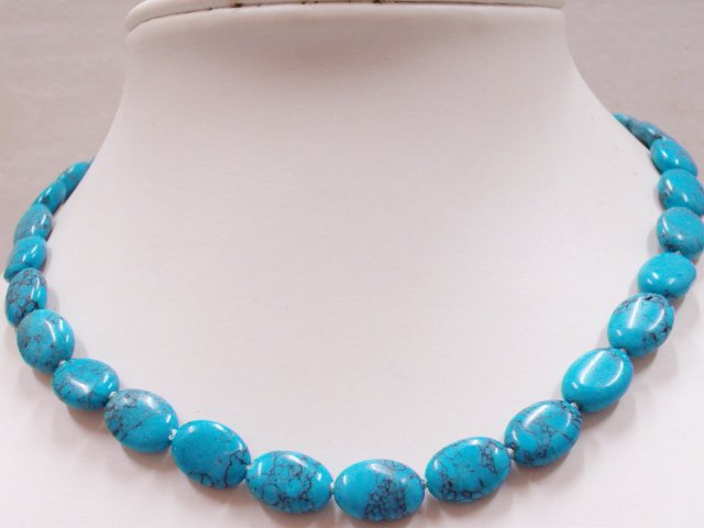 10x14 MM Oval Turquoise Necklace