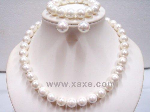12mm white seashell pearl Necklace Bracelet Earring set