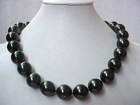 BIG! 16MM BLACK SEASHELL PEARL NECKLACE