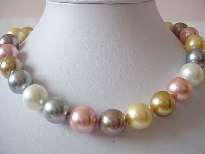 BIG! 16mm multicolor seashell pearl necklace