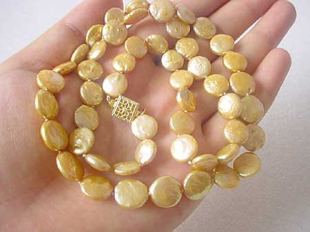 LONG! 24'' CHAMPAGNE COIN PEARL NECKLACE