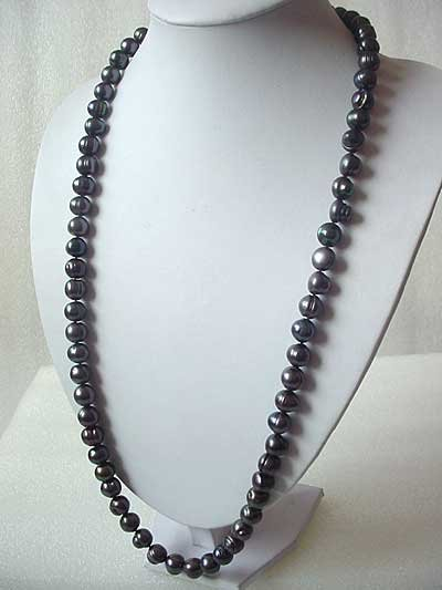LONG! 32'' 11-12MM BLACK FW PEARL NECKLACE