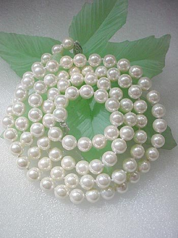 LONG! 35'' 8MM White seashell pearl NECKLACE
