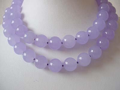 Long!! Lavender Jade 14mm necklace