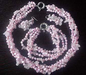 pink FW pearl & rose quartz necklace bracelet earring set