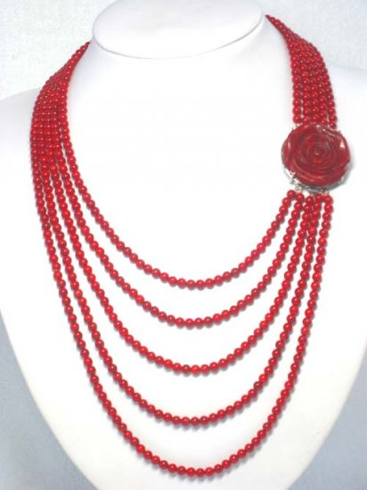 CORAL BEADS GREAT HANDWORK CARVED FLOWER NECKLACE