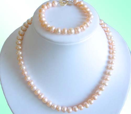 PINK 8-9MM FRESHWATER PEARL NECKLACE & BRACELET SETS