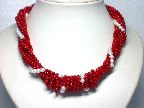 7 ROWS RED CORAL & PEARL NECKLACE