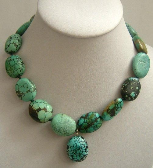 blue natural old-turquoise beads SS-925 silver necklace