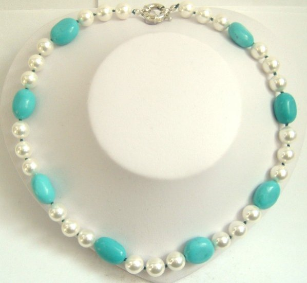sky-blue natural turquoise bead & seashell pearl necklace