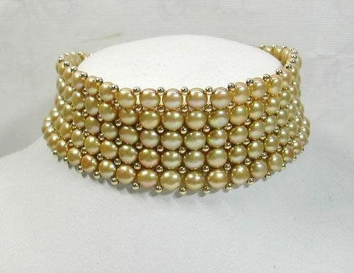 5 strand champagne pearl necklace choker