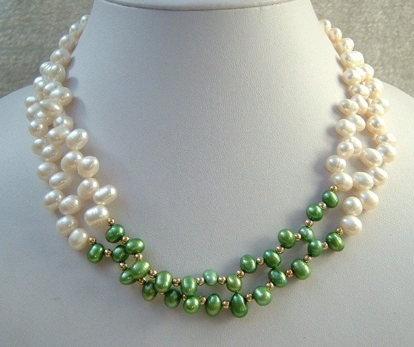 2 strand Real white and green freshwater pearl necklace