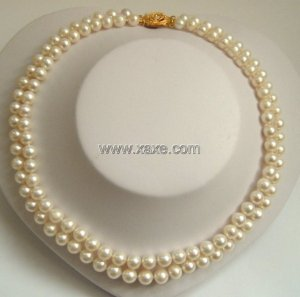 2 strands Real white freshwater pearls necklace