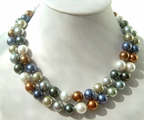 "40"""" 12mm MIX south sea shell pearl necklace"