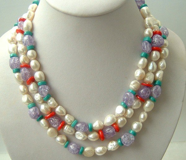 Elegant 3 strand FW pearl and crystal bead necklace
