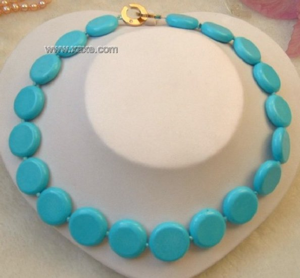 17'' 22mm sky-blue natural turquoise beads necklace