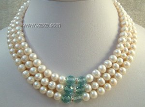 3 strands white freshwater pearl and crystal necklace