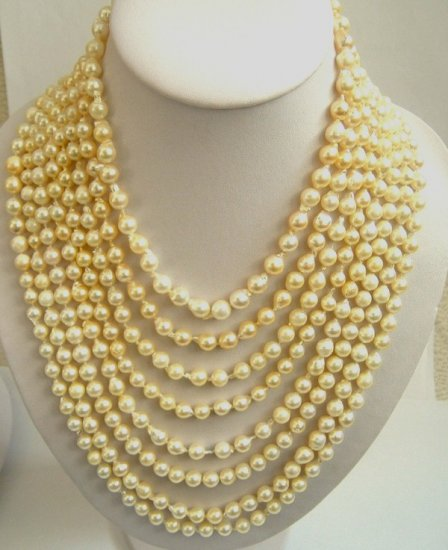 8 strands golden sea water pearl necklace