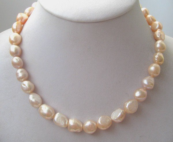 "16"""" baroque pink freshwater pearl necklace heart clasp"